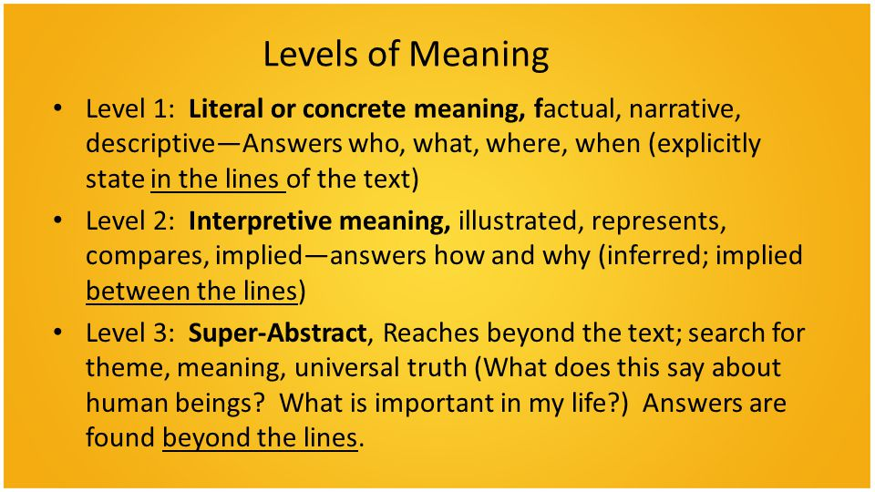 Levels of Meaning