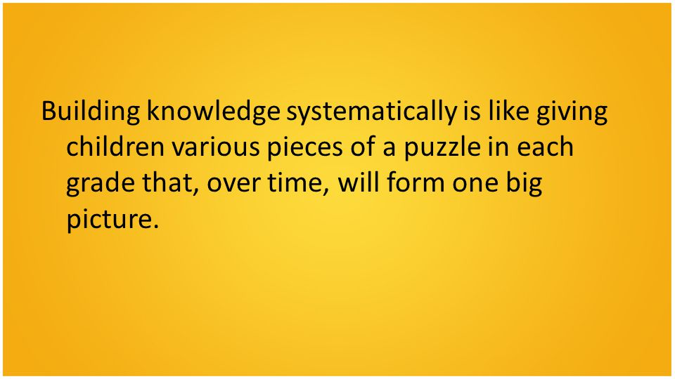Building knowledge systematically is like giving children various pieces of a puzzle in each grade that, over time, will form one big picture.