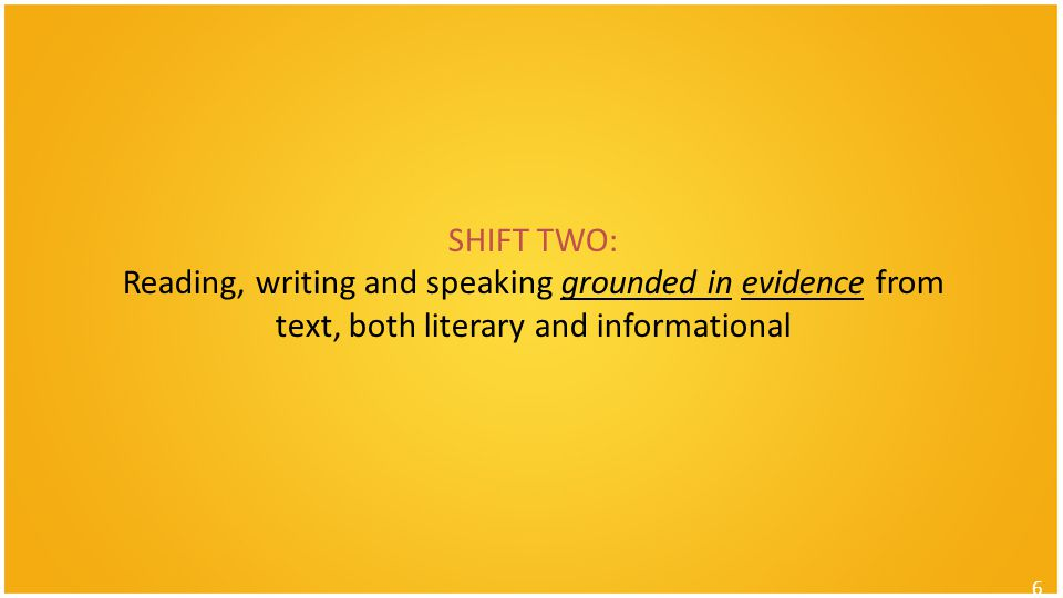 SHIFT TWO: Reading, writing and speaking grounded in evidence from text, both literary and informational
