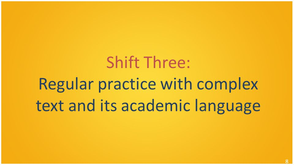 Shift Three: Regular practice with complex text and its academic language