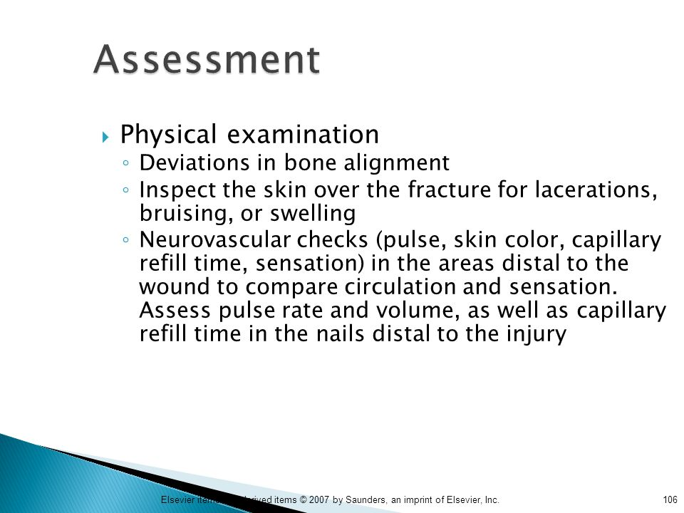 Assessment Physical examination Deviations in bone alignment
