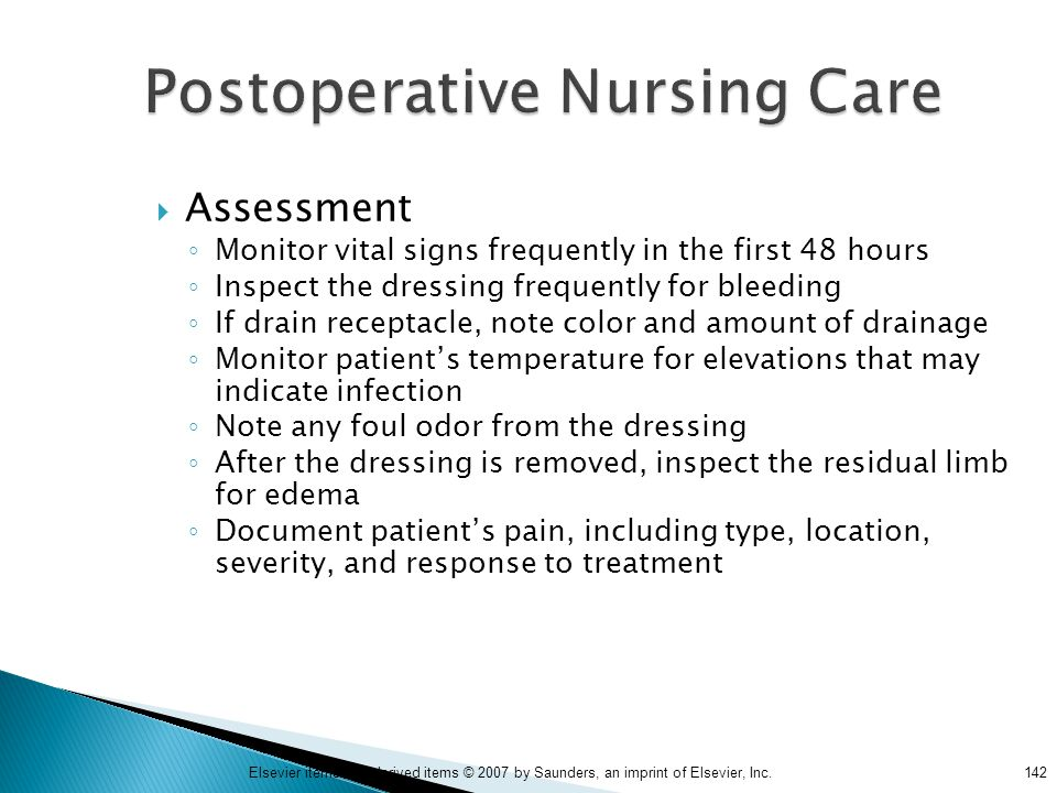 Postoperative Nursing Care