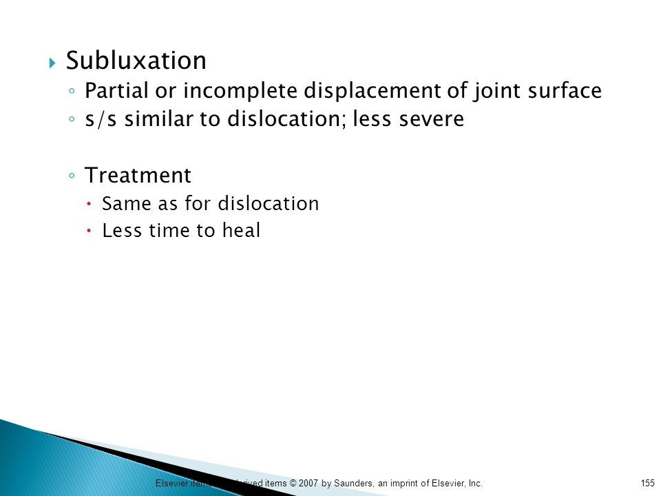 Subluxation Partial or incomplete displacement of joint surface