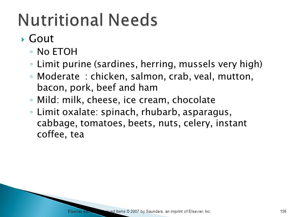 Nutritional Needs Gout No ETOH