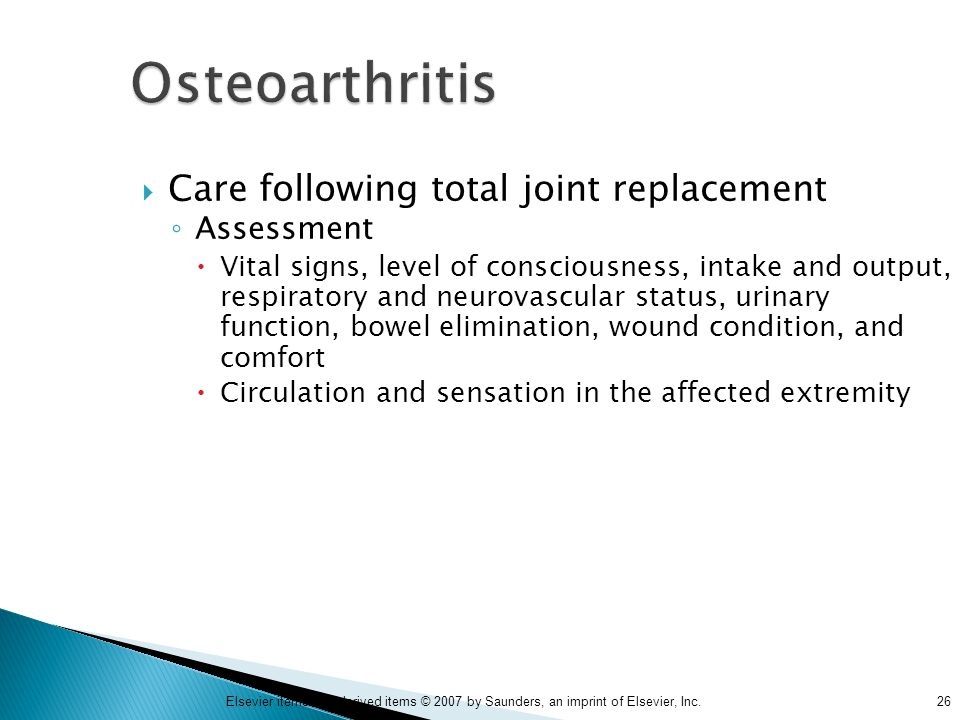Osteoarthritis Care following total joint replacement Assessment