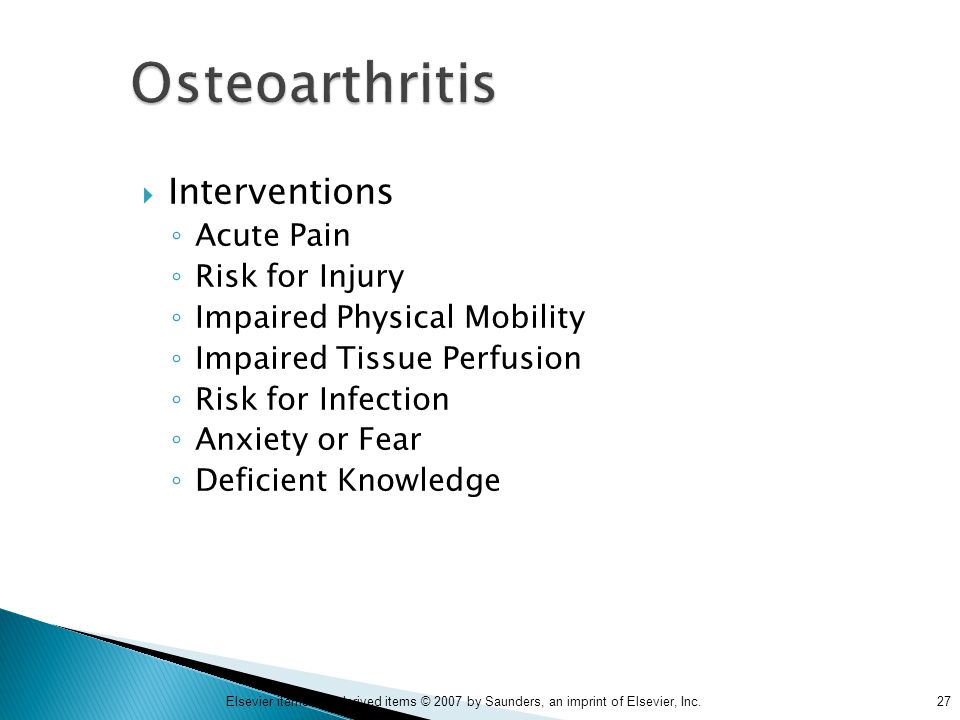 Osteoarthritis Interventions Acute Pain Risk for Injury