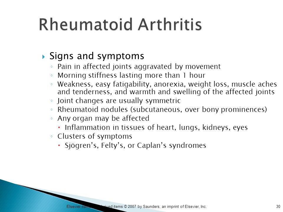 Rheumatoid Arthritis Signs and symptoms