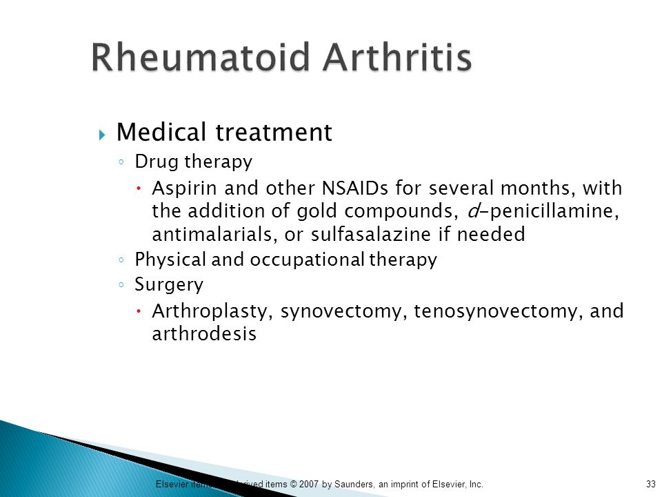 Rheumatoid Arthritis Medical treatment