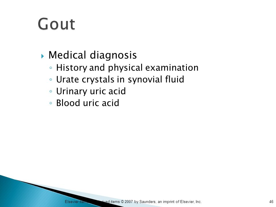 Gout Medical diagnosis History and physical examination