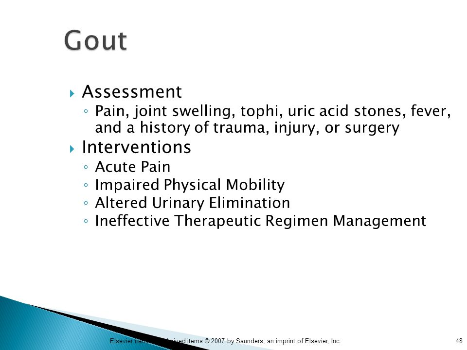 Gout Assessment Interventions