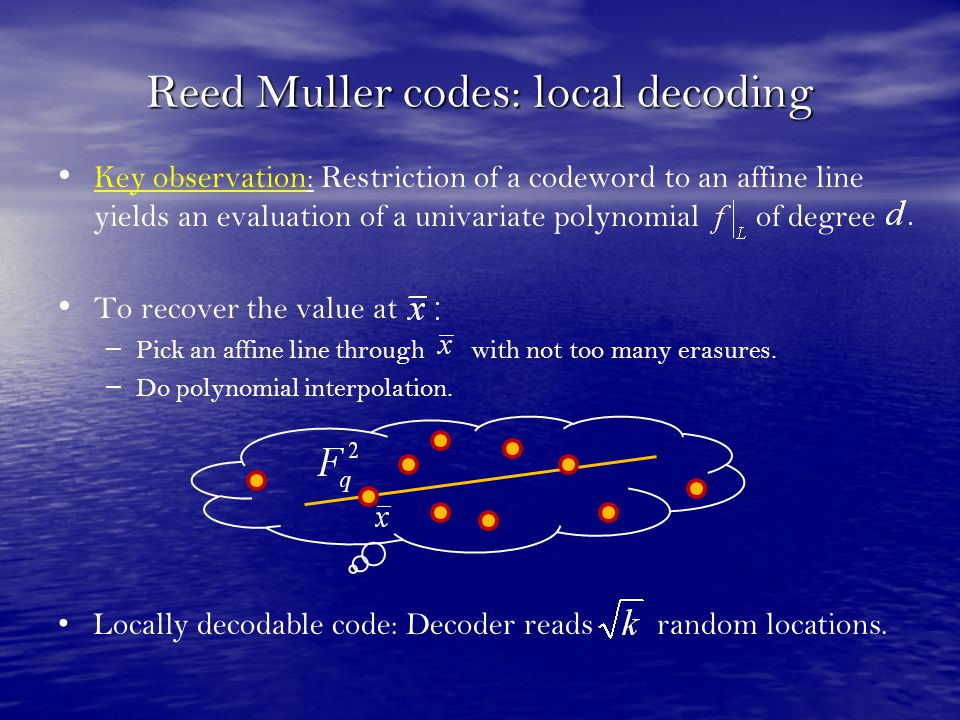 Reed Muller codes: local decoding
