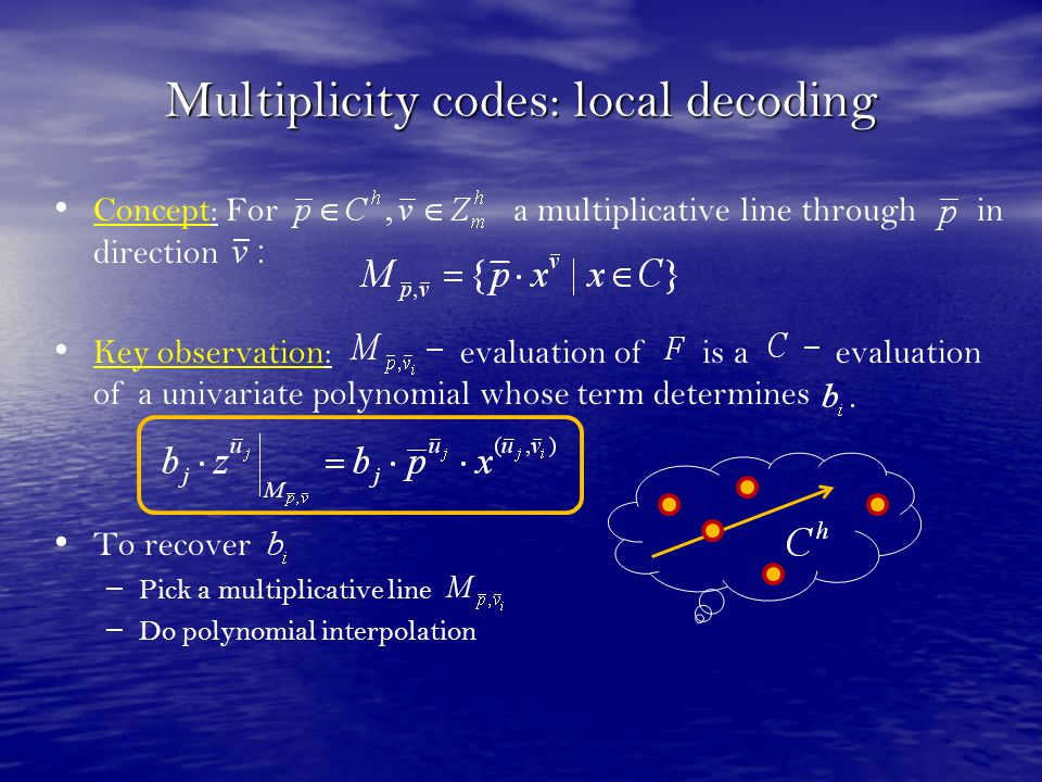 Multiplicity codes: local decoding