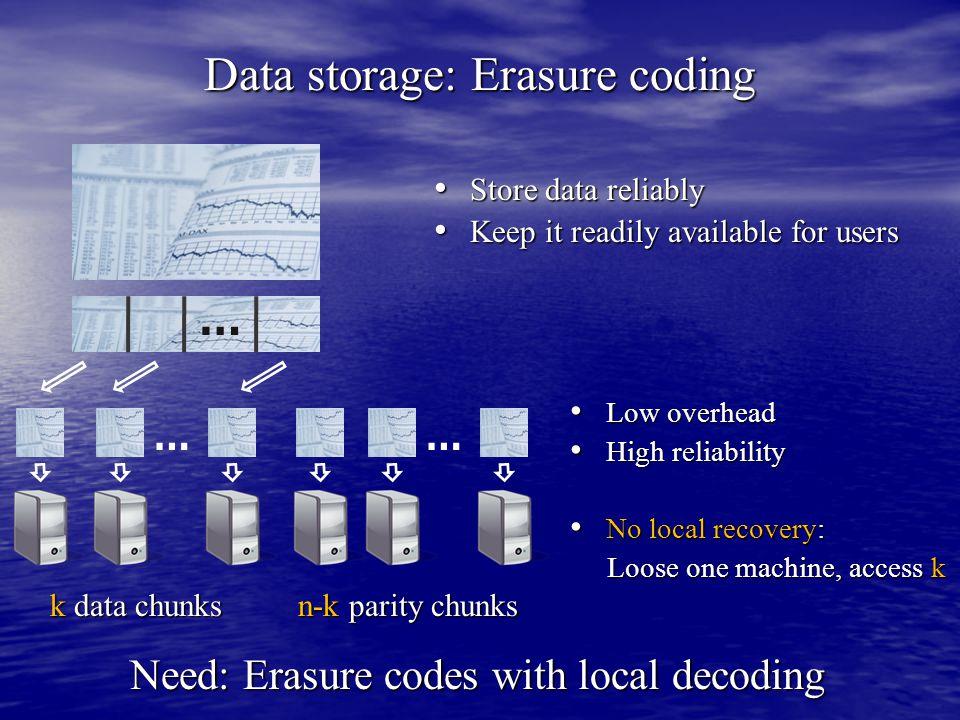 Data storage: Erasure coding