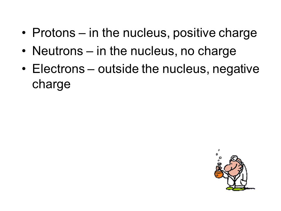 Protons – in the nucleus, positive charge