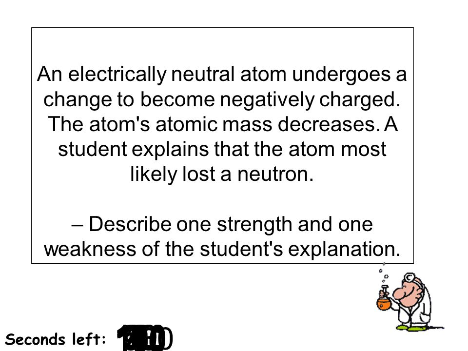 An electrically neutral atom undergoes a change to become negatively charged. The atom s atomic mass decreases. A student explains that the atom most likely lost a neutron. – Describe one strength and one weakness of the student s explanation.