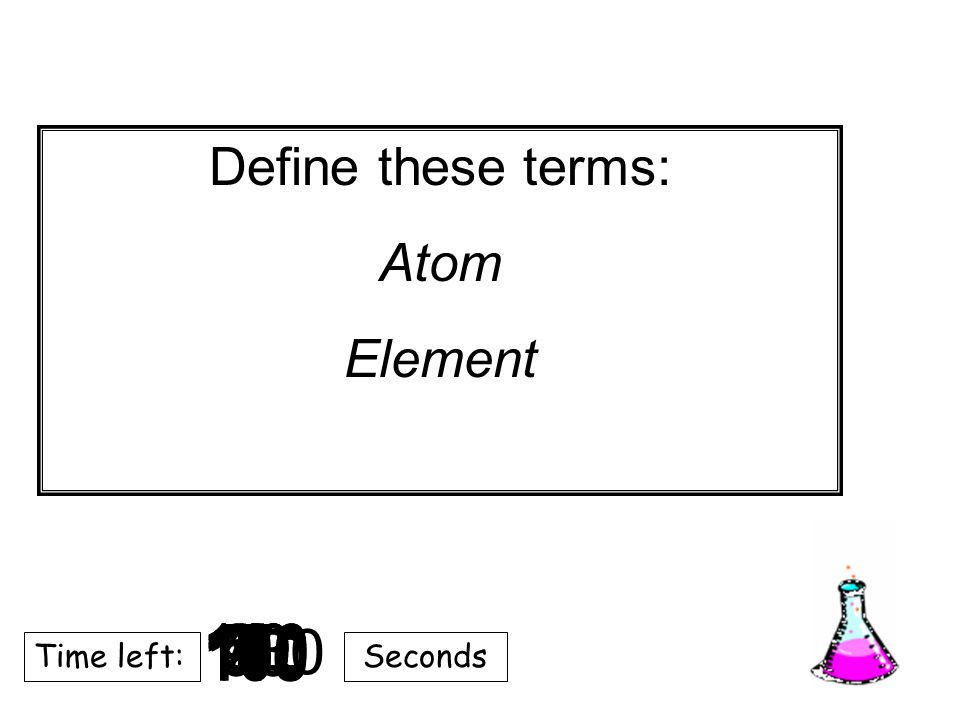 Define these terms: Atom. Element. 9. 8. 10. 20. 180. 7. 5. 2. 3. 4. 40. 6. 30. 130.