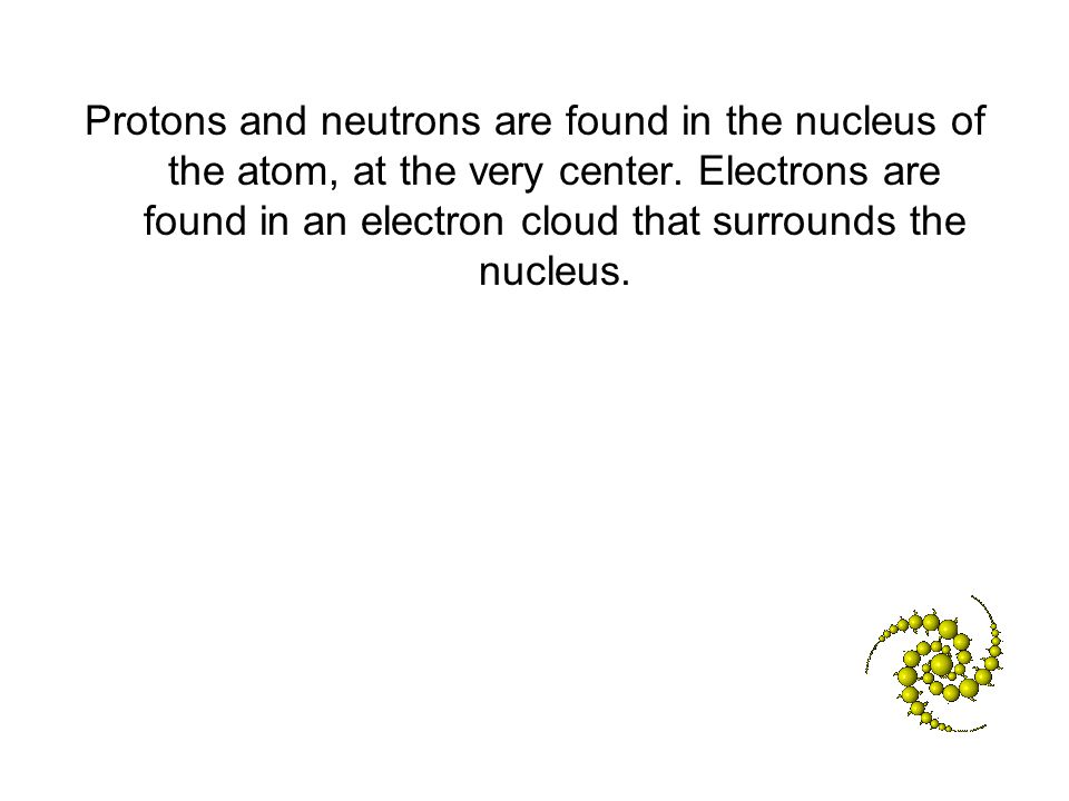 Protons and neutrons are found in the nucleus of the atom, at the very center.