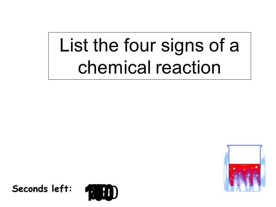 List the four signs of a chemical reaction