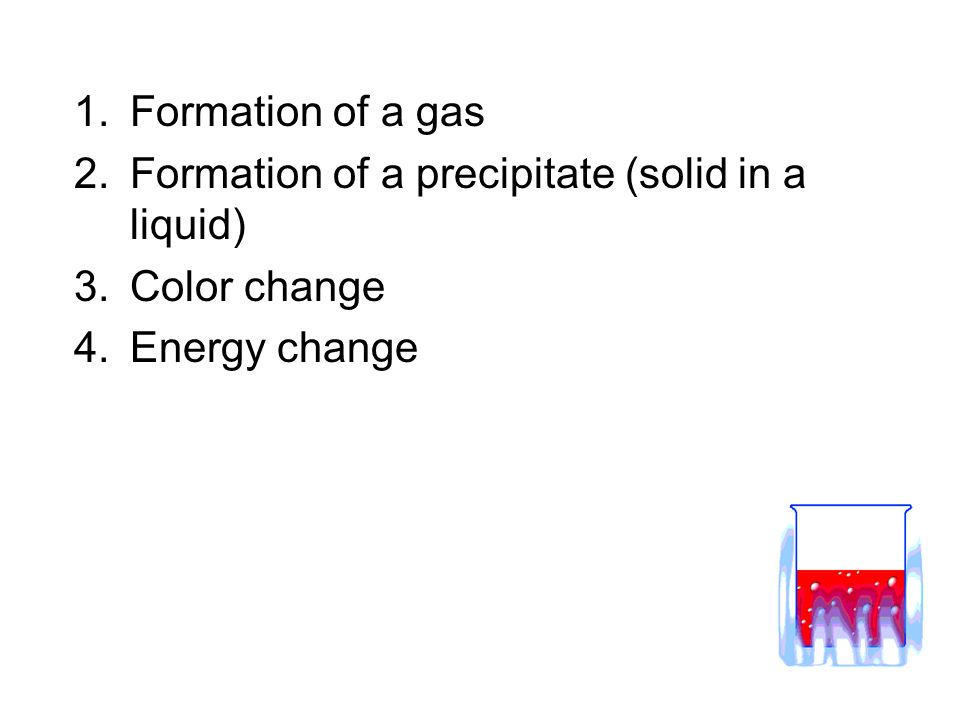 Formation of a gas Formation of a precipitate (solid in a liquid) Color change Energy change