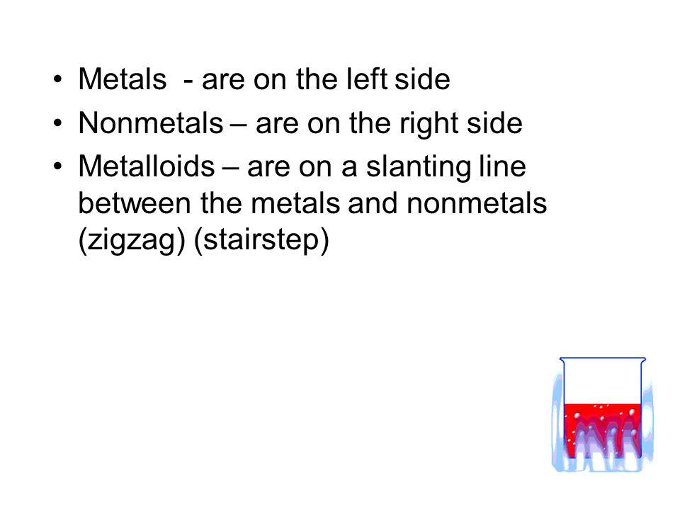 Metals - are on the left side