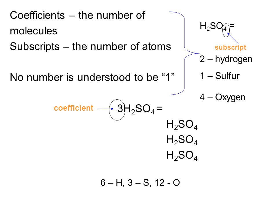 6 – H, 3 – S, 12 - O Coefficients – the number of molecules