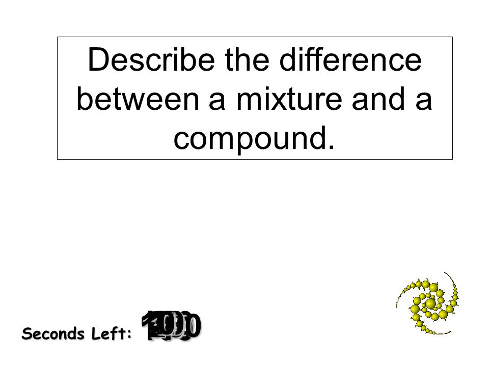 Describe the difference between a mixture and a compound.