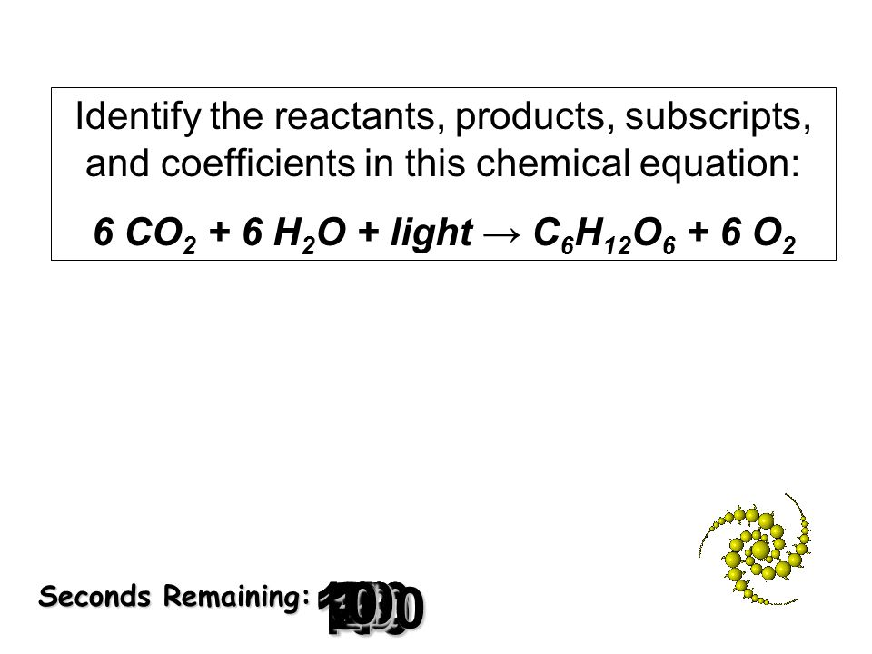 Identify the reactants, products, subscripts, and coefficients in this chemical equation: