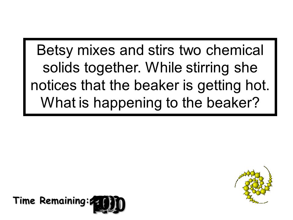 Betsy mixes and stirs two chemical solids together