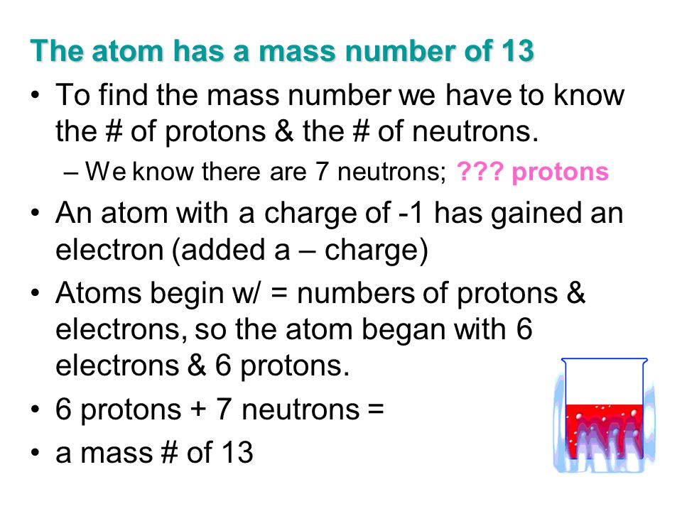 The atom has a mass number of 13