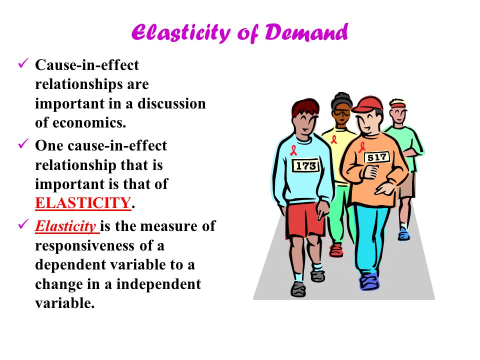 Elasticity of Demand Cause-in-effect relationships are important in a discussion of economics.