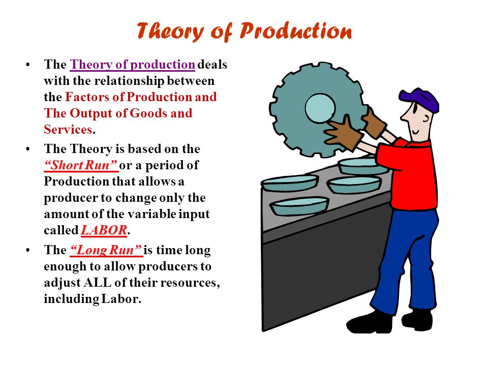 Theory of Production The Theory of production deals with the relationship between the Factors of Production and The Output of Goods and Services.