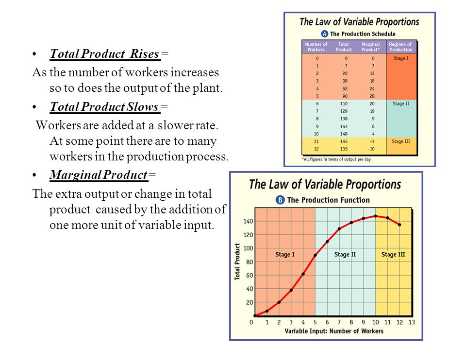 Total Product Rises = As the number of workers increases so to does the output of the plant. Total Product Slows =