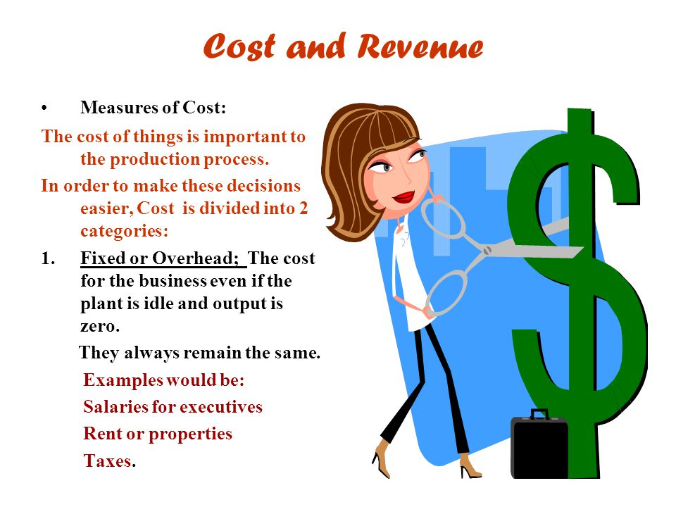 Cost and Revenue Measures of Cost:
