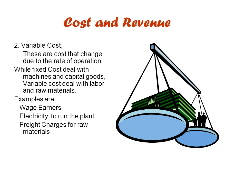 Cost and Revenue 2. Variable Cost;