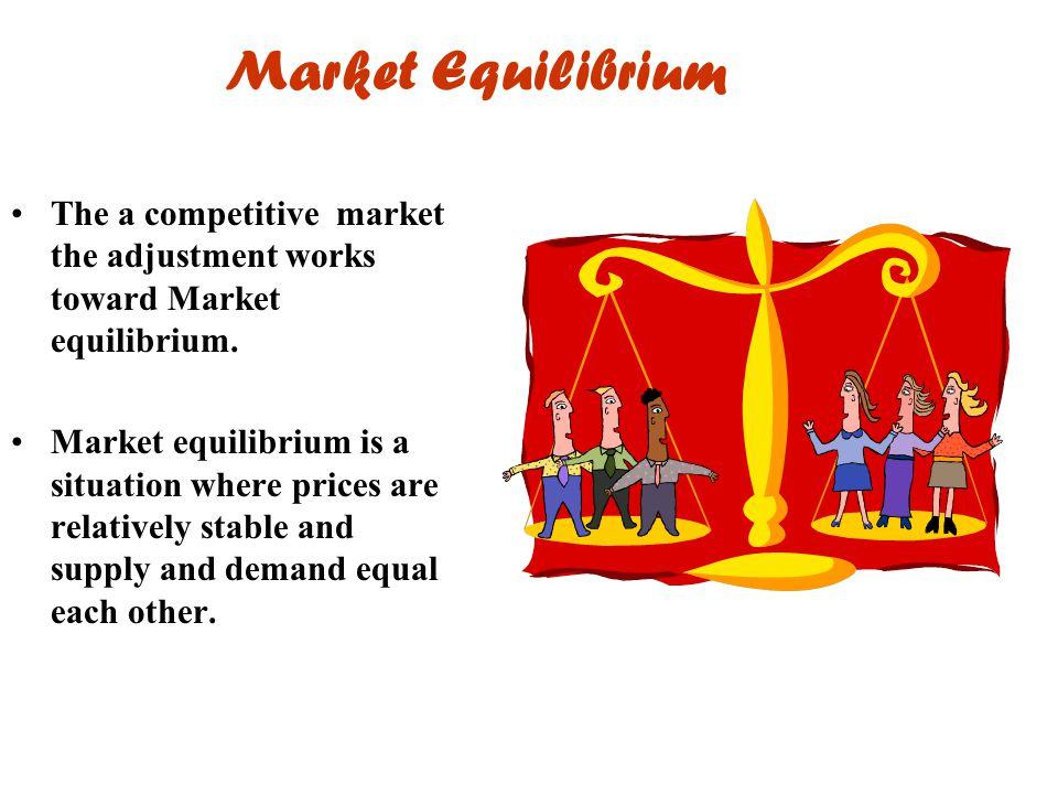 Market Equilibrium The a competitive market the adjustment works toward Market equilibrium.