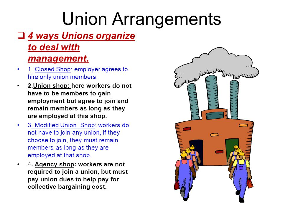 Union Arrangements 4 ways Unions organize to deal with management.