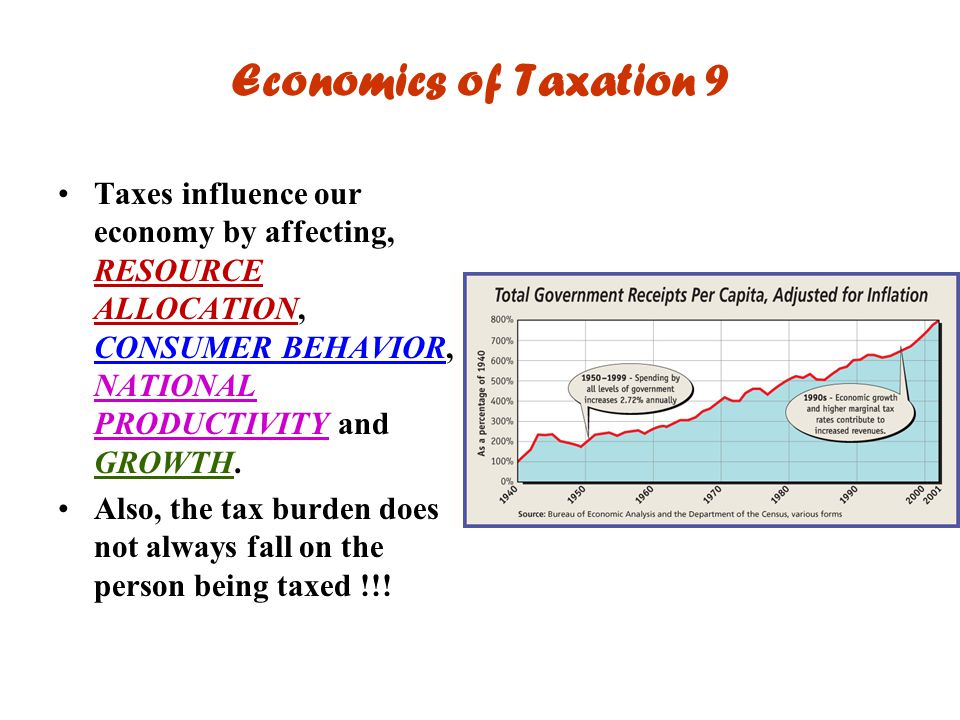 Economics of Taxation 9 Taxes influence our economy by affecting, RESOURCE ALLOCATION, CONSUMER BEHAVIOR, NATIONAL PRODUCTIVITY and GROWTH.