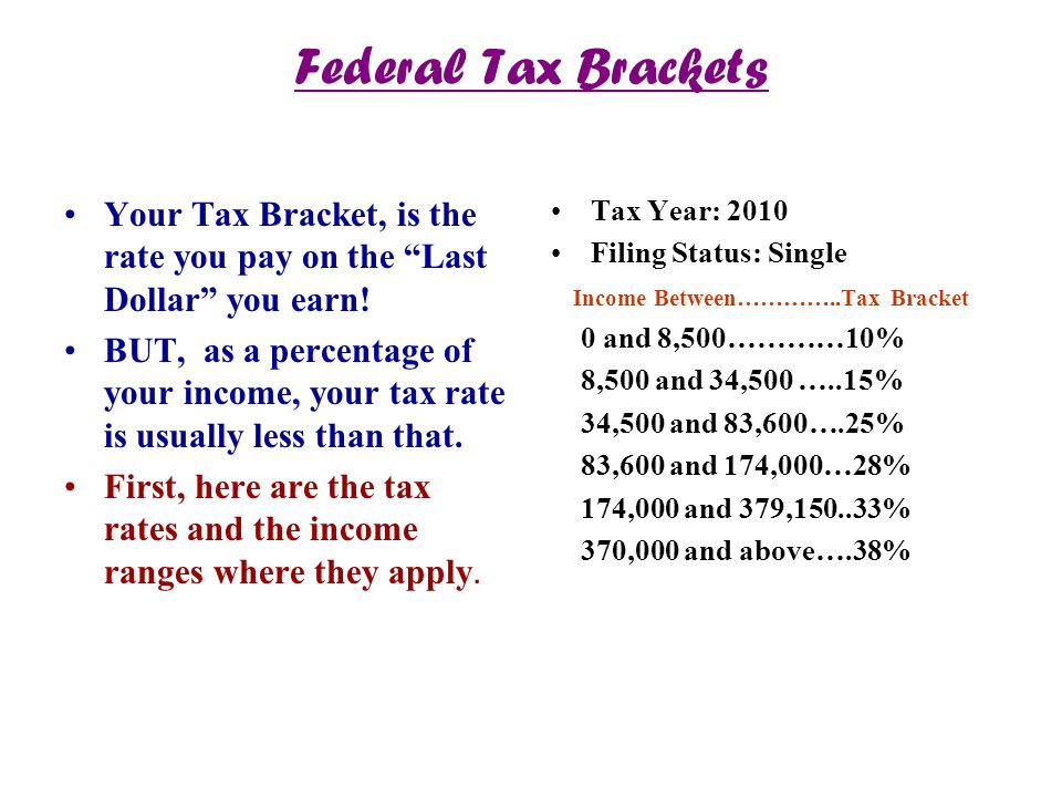 Federal Tax Brackets Your Tax Bracket, is the rate you pay on the Last Dollar you earn!