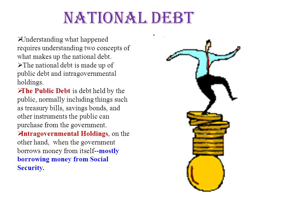 National Debt . Understanding what happened requires understanding two concepts of what makes up the national debt.