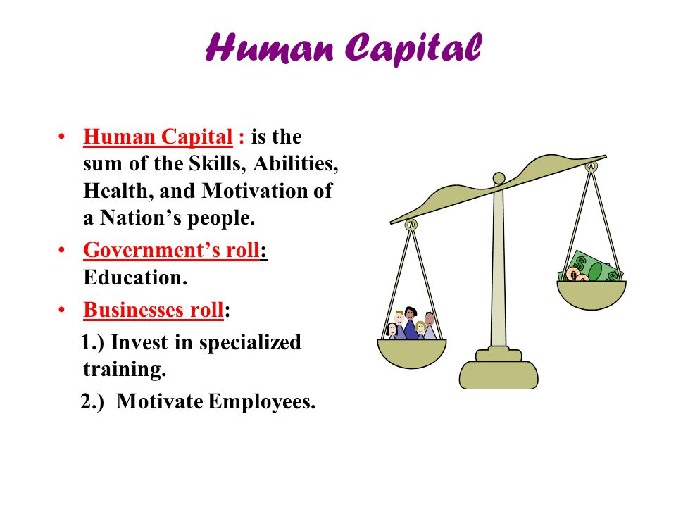 Human Capital Human Capital : is the sum of the Skills, Abilities, Health, and Motivation of a Nation's people.