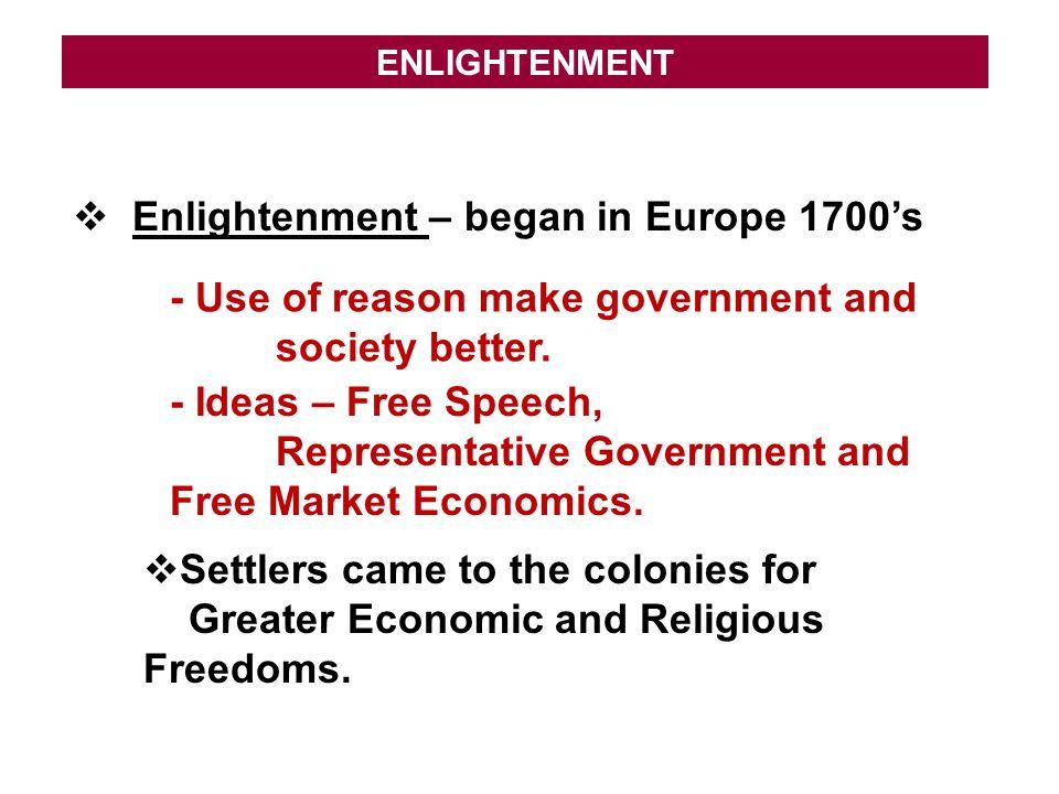 Enlightenment – began in Europe 1700's