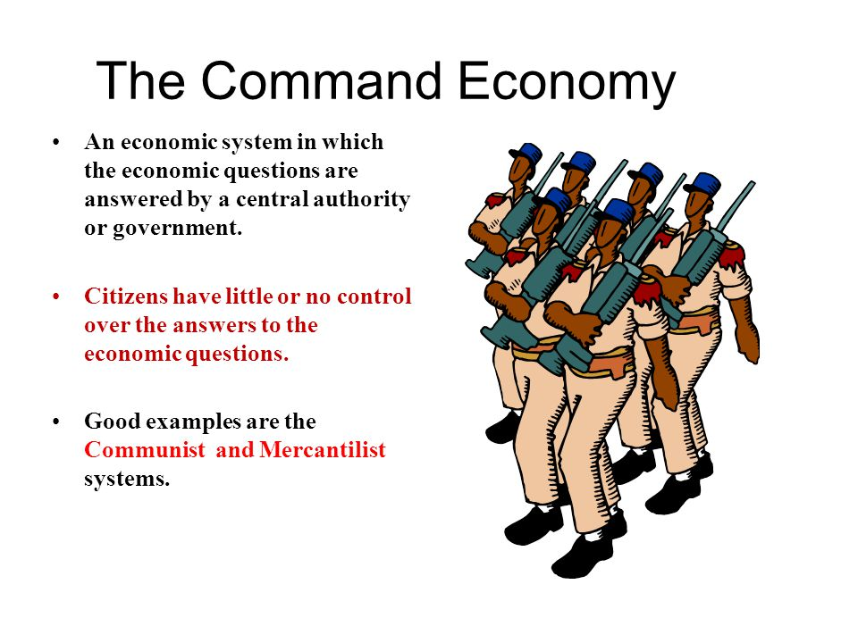 The Command Economy An economic system in which the economic questions are answered by a central authority or government.
