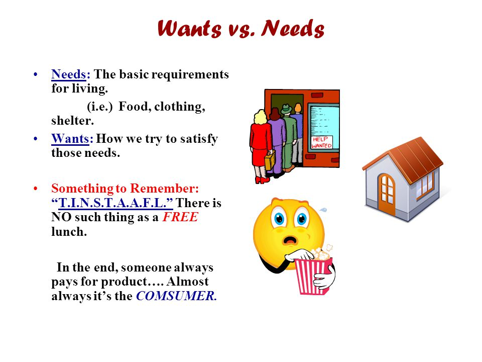 Wants vs. Needs Needs: The basic requirements for living.