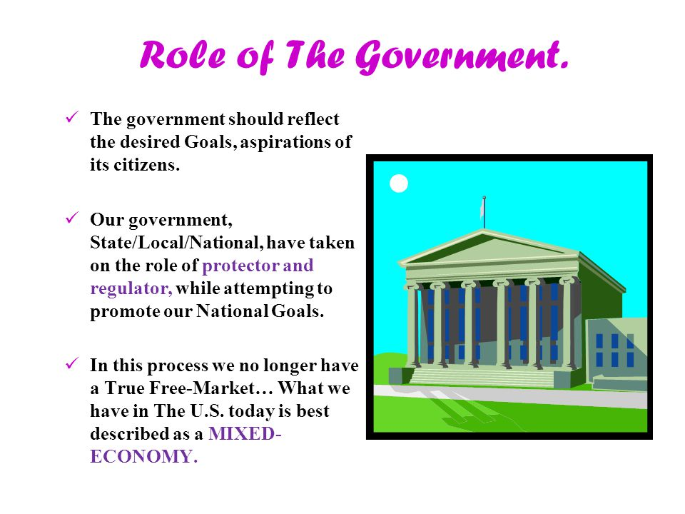 Role of The Government. The government should reflect the desired Goals, aspirations of its citizens.