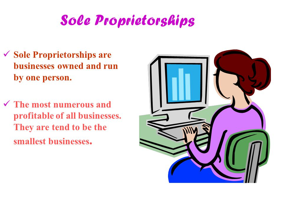 Sole Proprietorships Sole Proprietorships are businesses owned and run by one person.