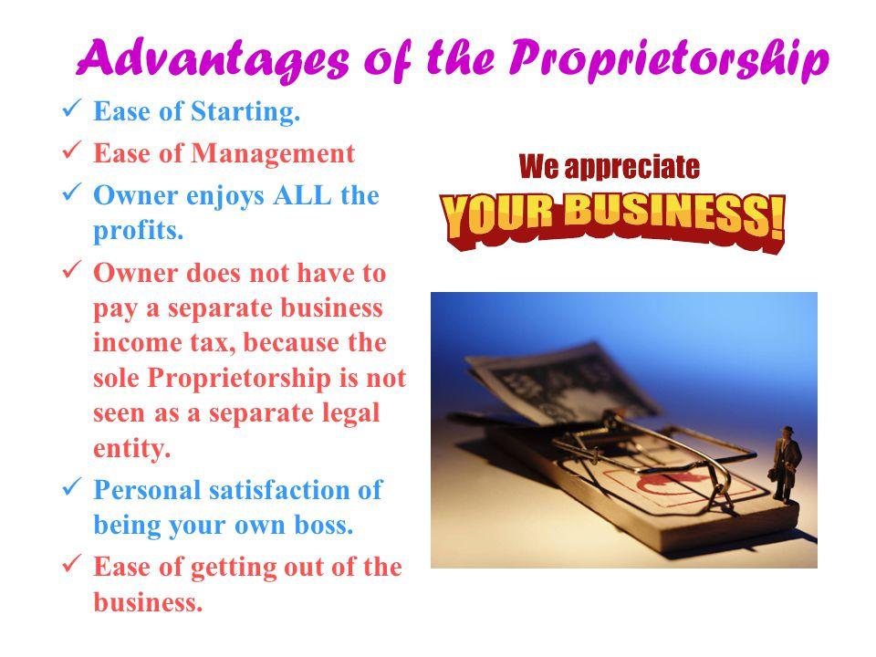 Advantages of the Proprietorship