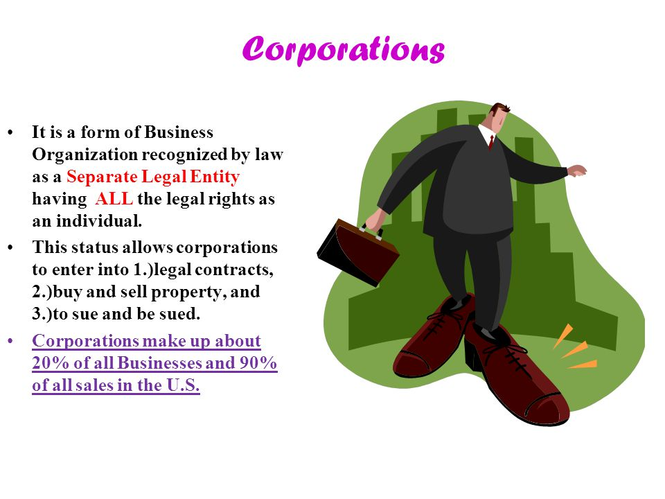 Corporations It is a form of Business Organization recognized by law as a Separate Legal Entity having ALL the legal rights as an individual.