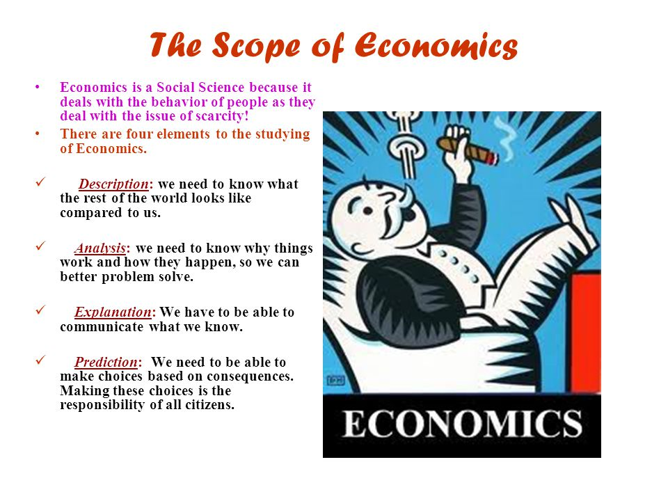 The Scope of Economics Economics is a Social Science because it deals with the behavior of people as they deal with the issue of scarcity!