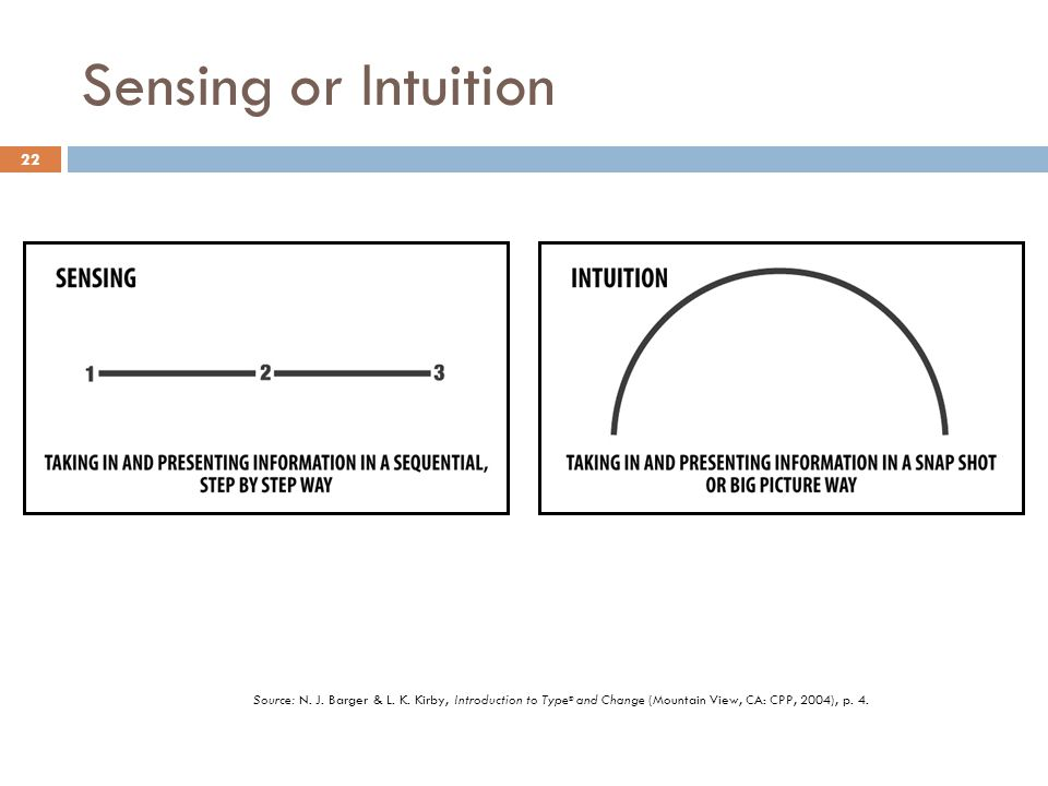 Sensing or Intuition Source: N. J. Barger & L. K.