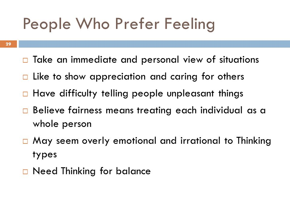 People Who Prefer Feeling